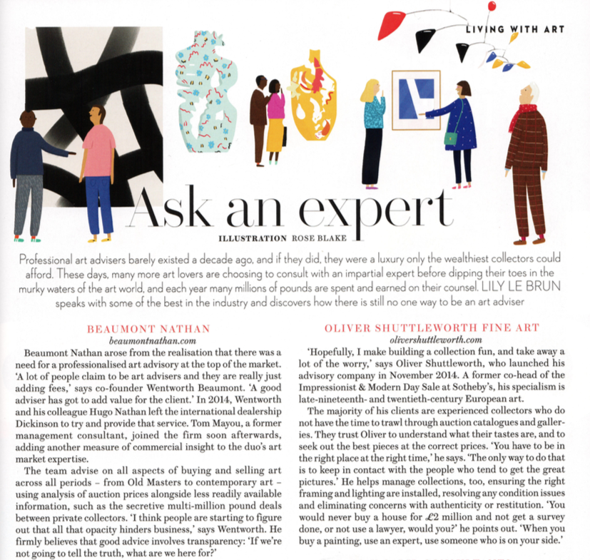 November's issue of House & Garden listed Beaumont Nathan as one of the go-to experts for art advising.