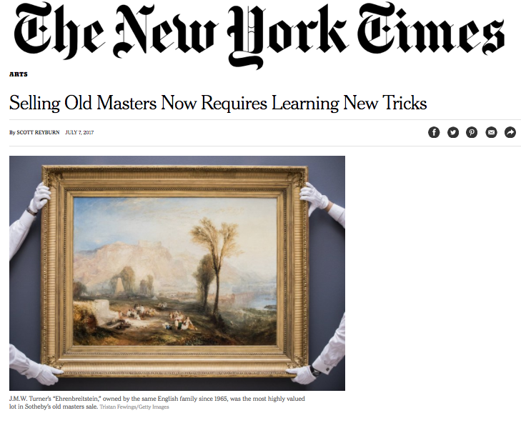 Co-Founder Hugo Nathan quoted in The New York Times in July 2017 on the Old Master market.