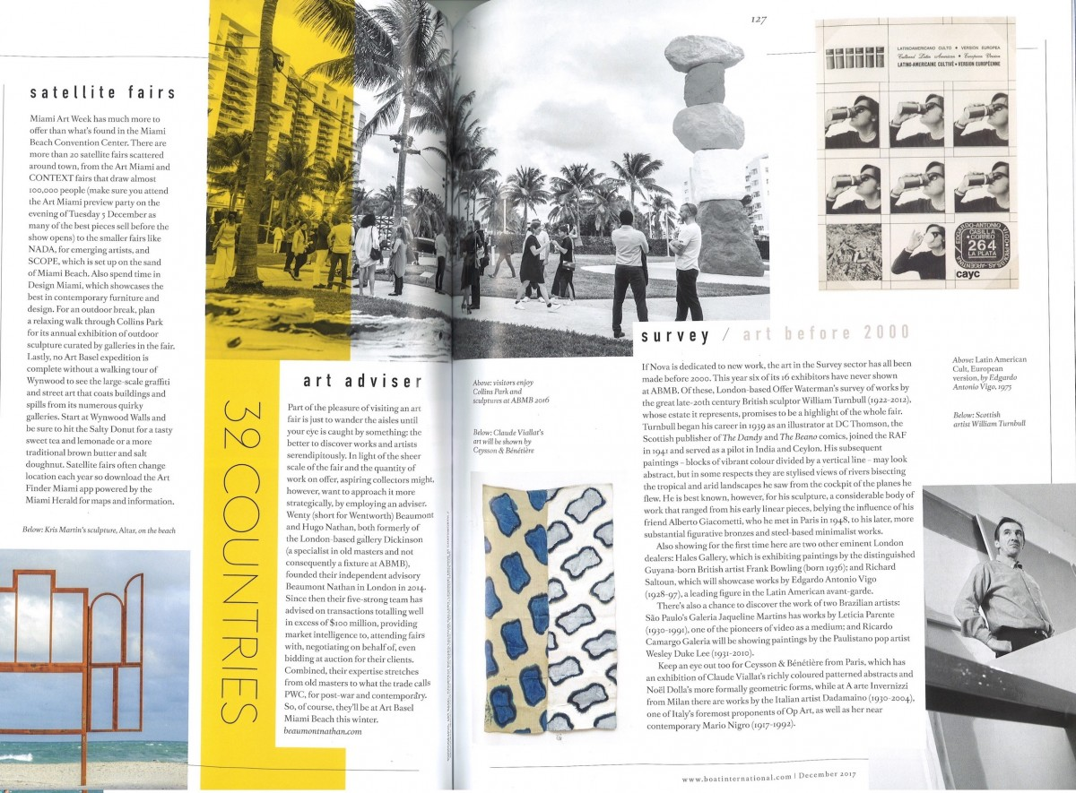 Beaumont Nathan co-founder Wenty and Hugo as featured in Boat International's December issue leading up to Art Basel's Miami Edition 2017
