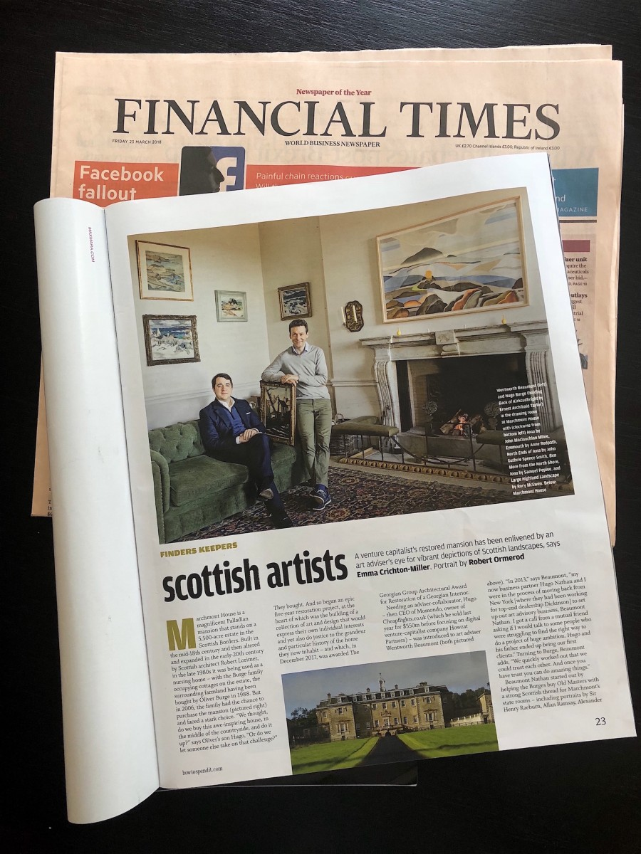 BN Founder Wenty Beaumont as featured in the FT Weekend Magazine's March 25, 2018 issue highlighting the Burge Family's incredible restoration of the historic Marchmont House and our involvement in the home's growing art collection.