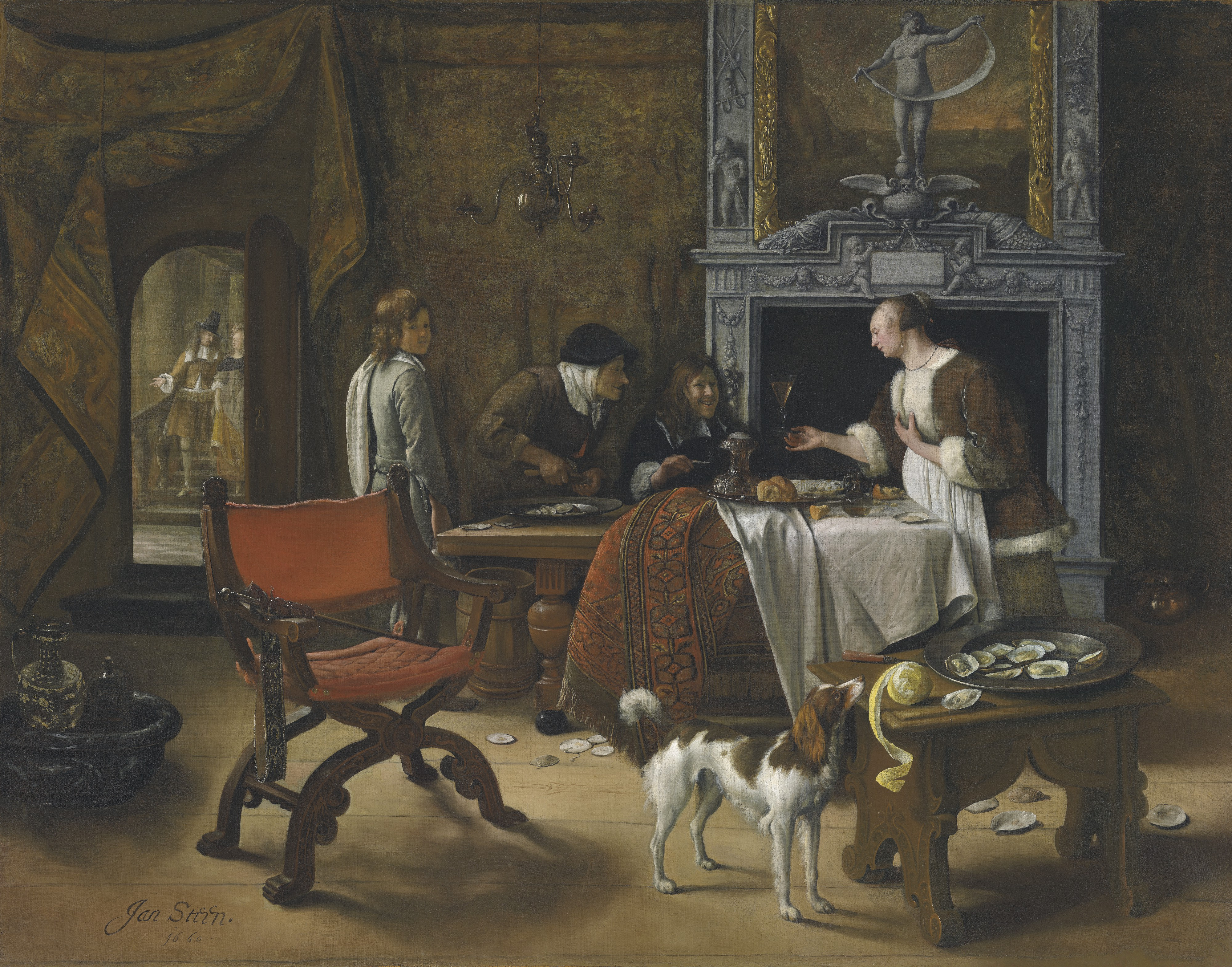 Jan Havicksz Steen - Easy Come, Easy Go: The Artist Eating Oysters In An Interior